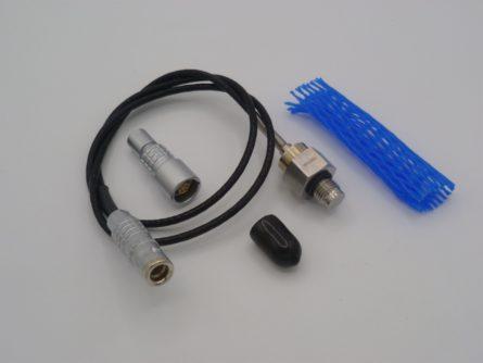 Photo d'un capteur de pression miniature membranne affleurante prkc avec un connecteur lemo en bout de cable