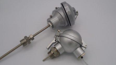 Photo d'un thermocouple avec tete industrielle avec raccord sous tête ou raccord glissant réglable